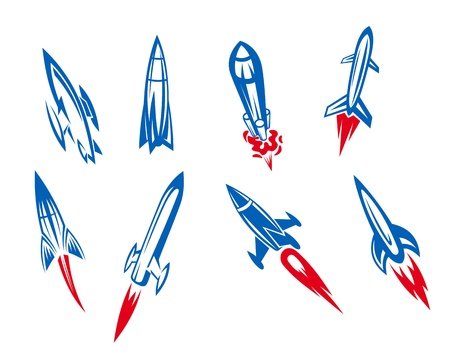orbiting: Set of rockets and missiles in cartoon style