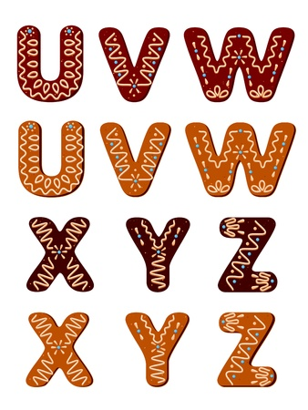 Gingerbread alphabet letters from U to Z for christmas or new year holiday design Illustration