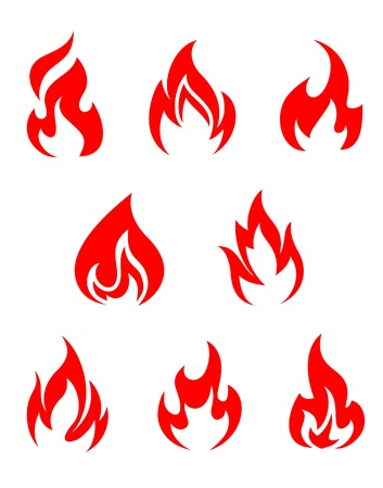 Set of fire flames isolated on white background