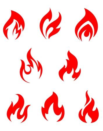 lägereld: Set med röd eld lågor för varningssymboler