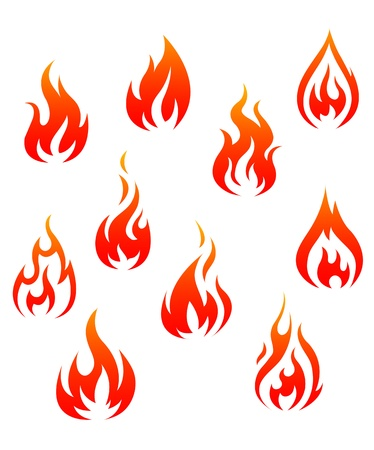 flammable warning: Set of fire flames isolated on white background as warning symbols Illustration