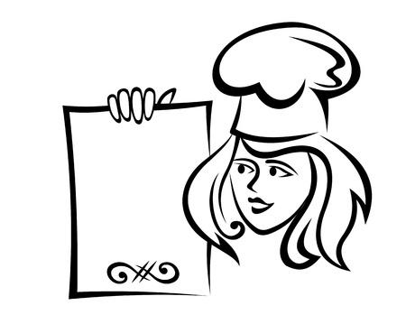 Restaurante Chef con men� de papel para el dise�o r�pido de servicio de alimentos
