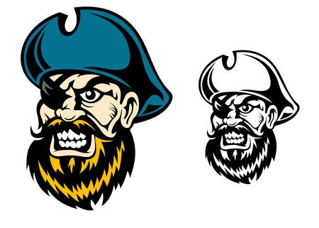 Old pirate captain in cartoon style for mascot or tattoo design Vector