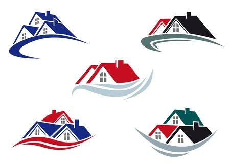 case moderne: Tetti delle case impostato per settore immobiliare Vettoriali