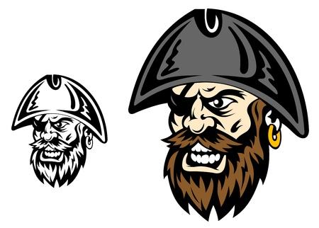 filibuster: Angry corsaro e capitano dei pirati per la progettazione di mascotte Vettoriali