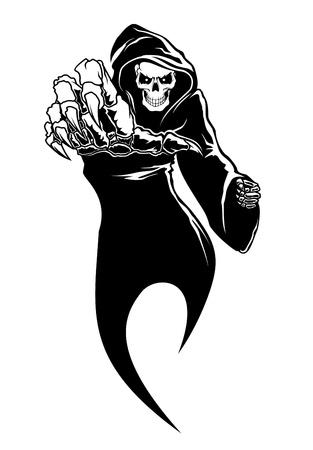Nero orrore - la morte di pericolo con le ossa per il concetto di paura Vettoriali