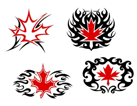 Maple leaf mascots and symbols for tattoo design Vector
