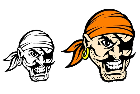 skull cap: Caribbean danger pirate in cartoon style in color and monochrome versions