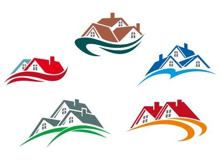 Symboles Immobilier - toits des maisons et des bâtiments