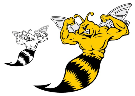 yellow jacket: Danger yellow jacket with muscles for mascot design