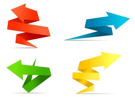 Arrow web banners en labels in origami stijl voor web design