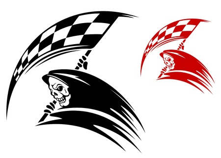 Black death with ckeckered flag for danger racing concept or tattoo Vector