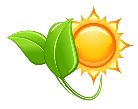 Sun and green leaves in glossy style for ecology or environment icon Stock Vector - 16049853