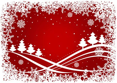 Christmas background with pines and snowflakes for holiday design Vector