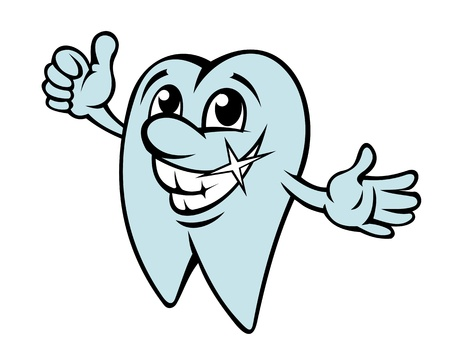 Happy cartoon tooth in clean condition for dentistry design Vector