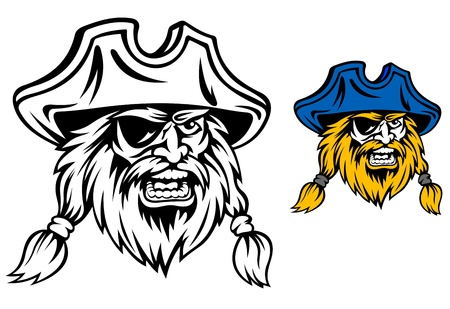 captain cap: Medieval pirate in cartoon style for mascot or tattoo design Illustration