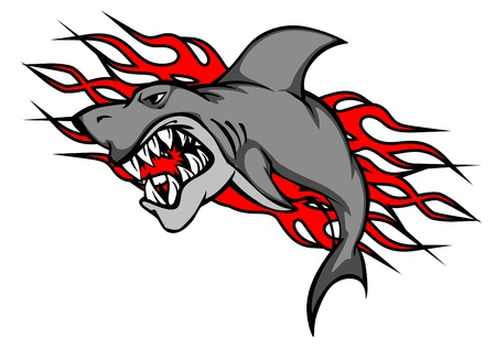 Danger shark with tribal flames for tattoo or mascot design