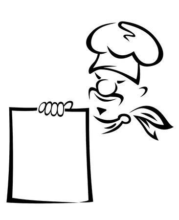 Chinese or japanese chef with blank menu Vector