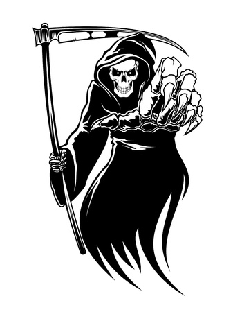 skull tattoo: Black death monster with scythe for halloween concept