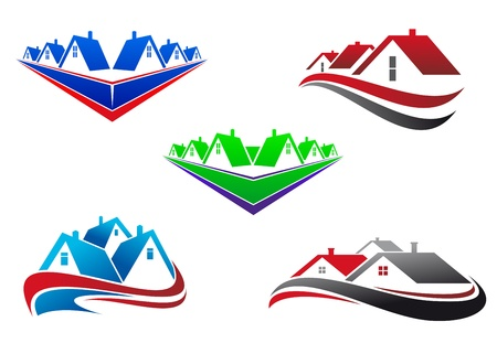 Real estate symbols - roofs and houses elements Vector