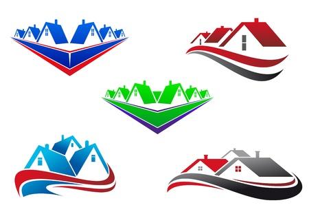 real estate background: Real estate symbols - roofs and houses elements Illustration