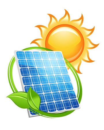 panel: Solar panel and batteries with sun symbol for alternative energy concept