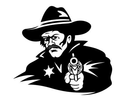 Sheriff with gun in cartoon style for western design Vector