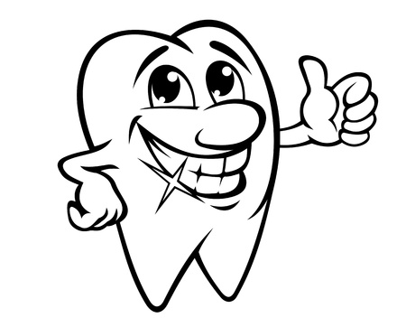 Smiling tooth in cartoon style Vector