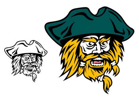 privateer: Shouting pirate captain head for mascot design Illustration