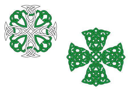celtico: Due croci celtiche verde isolato su sfondo bianco Vettoriali