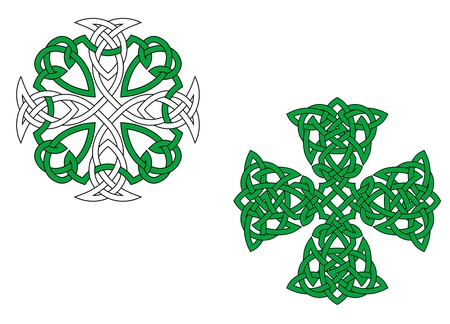 celtic culture: Two green celtic crosses isolated on white background Illustration