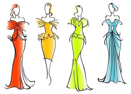 Vestidos modernos y elegantes para el diseño de moda