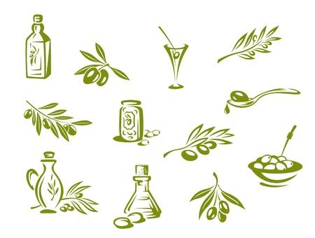 оливки: Зеленые оливки и органические масла символы на белом фоне Иллюстрация