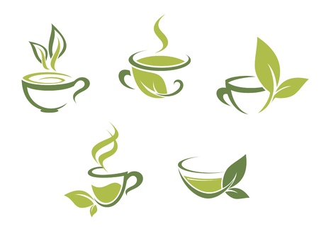 tea cups: Cups of fresh tea and green leaves Illustration