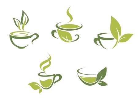 logos restaurantes: Tazas de t� fresco y hojas verdes