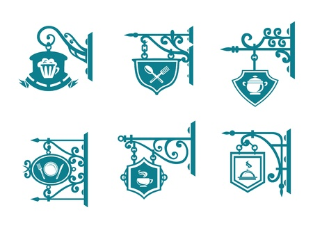 cafe bar: Tavern and pubs signs with decorations for design Illustration
