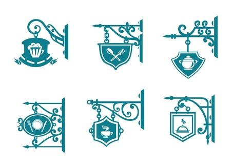 rejas de hierro: Tavern bares y señales con las decoraciones para el diseño Vectores