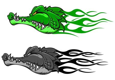crocodile skin: Danger crocodile tattoo with tribal flames for mascot design