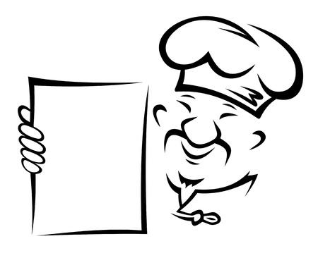 chef caricatura: Cocinero chino con el papel en blanco para el diseño del menú de restaurante asiático