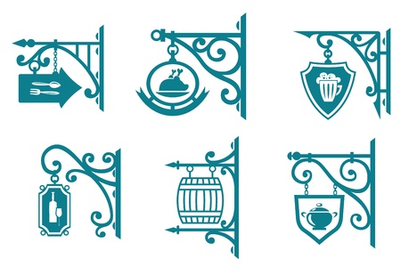 Vintage signs of pubs, taverns and restaurants isolated on white Vector