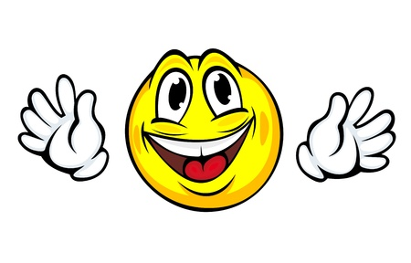 welcome smile: Yellow smiling face with hands in cartoon style for emotion concept design