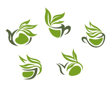 leaf logo: Symbols of green herbal tea isolated on white background