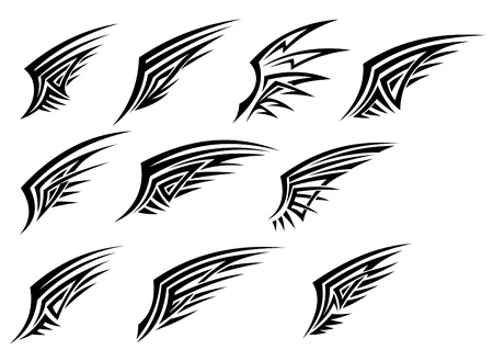Set of black tribal wing tattoos isolated on white background Stock Vector - 16441940
