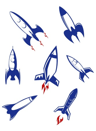 Space rockets and military missiles set isolated on white background
