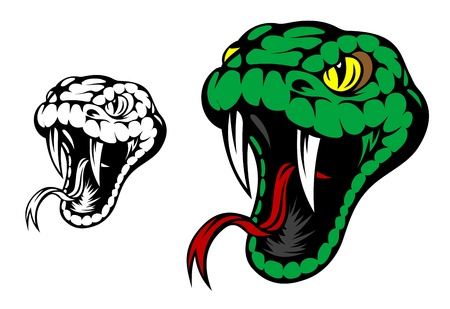 serpents: Head of danger aggressive snake for mascot design