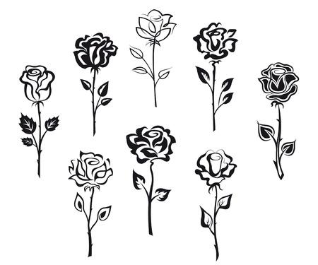 휴가 디자인에 대 한 흰색 배경에 격리 된 장미 꽃의 집합