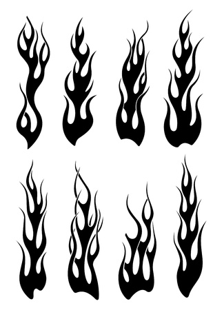 Set of black tribal flames for tattoo or another design