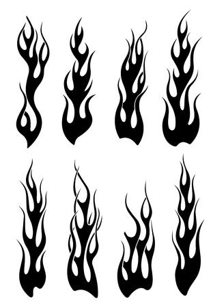 Set van zwarte tribal vlammen voor tatoeage of een ander ontwerp