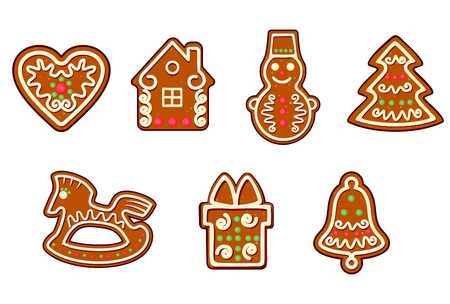 Gingerbread christmas objects set isolated on white background Vector