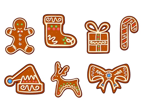 gingerbread cake: Gingerbread christmas holiday objects set isolated on white